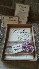 A6 Handmade Vintage Rustic hessian Wedding Invitation Boxed with rsvp / wish
