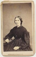 1860s CDV Photo Seated Lady by Slee Bros Civil War Tax Stamp in Po' Keepsie, NY