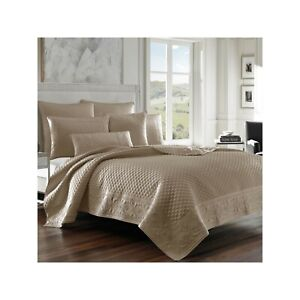 J QUEEN NEW YORK KING COVERLET SCALE STITCHED ZILARA  TAUPE