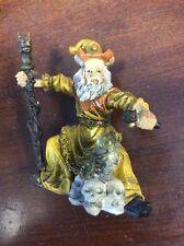 "Gold Yellow Wizard With Staff & Crystal Ball & Skulls Ceramic 3 3/4"" Figurine"