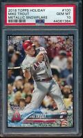 2018 Topps Holiday Mike Trout Metallic Snowflake #100 PSA 10 Gem Mint #HMW100