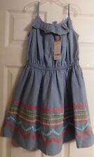 NEW Girls Beautiful Gymboree Dress Size 8 Blue Spaghetti Straps Girl's Sewn On