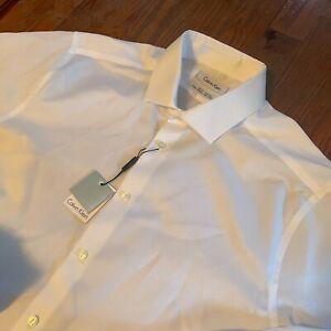 Calvin Klein White Non-Iron Slim Fit $75 French Cuff Men's 16 1/2 34/35 Shirt