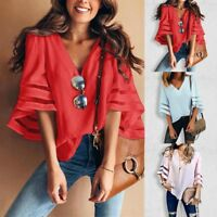 Fashion Women's Bell Flare Sleeve Blouse V-Neck Casual Boho Loose Tops T-Shirt
