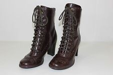 FREE SHIPPING SM New York Womens Size 9.5 M Brown Lace & Zip Up High Heels Boots
