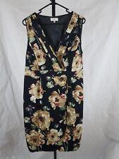 Capture Dress 18 Black Floral Cotton Midi Faux Wrap races wedding