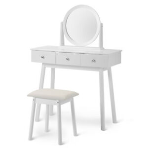 Dressing Table with Mirror and Stool Makeup Dresser for Girls White
