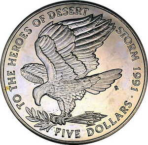 Vintage Coin Marshall Islands 1991 5 Dollars Heroes of Desert Storm KM# 40