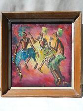 AFRIQUE Paul YONGA 20ème siècle DANSE MUSIQUE Tableau Peinture Huile POTO POTO