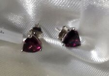 9K White Gold, 1.759 Ct, Natural, Rhodolite Garnet Earrings, Stud