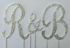 Rhinestone Crystal Covered Monogram Initial Letter Wedding Large Cake Topper Set