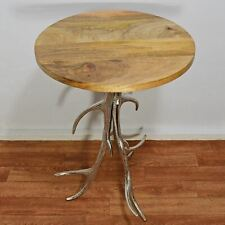 Silver Antler Side Table Mango Wood Top Stag Deer Country Kitchen Decor