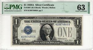 1928 A $1 SILVER CERTIFICATE NOTE KA BLOCK FR.1601 PMG CHOICE UNC 63 (866A)