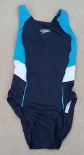 "SPEEDO Endurance Girls Swimming Costume Navy Blue White Size 30"""