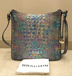 BRAHMIN Melbourne KATIE Iridescent Leather Crossbody Bag MOTHER OF PEARL NWT NIP