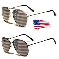 American USA Flag Aviator Sunglasses Patriotic United States Stars Stripes Black