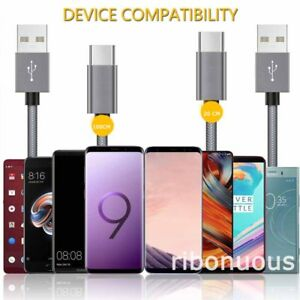USB C Cable [2-Pack/1 M+0.2M] Type C Nylon Braided Sync Cable for Samsung S9 S8