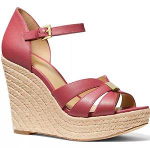 NIB Size 10 Michael Kors Maggie Leather Espadrille Wedge Sandals LT Berry Sorbet