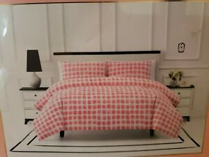 KATE SPADE Comforter Set 3PC Seaglass Dot Coral /Peach & White Full/Queen NEW!