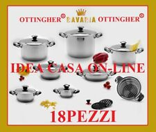 BAVARIA BATTERIA DI PENTOLE 18 Pz. INOX 18/10 ELEGANTE REGALO DI NOZZE