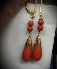 Orecchini in oro e corallo rosso sardo. Earrings in gold and red sardinian coral