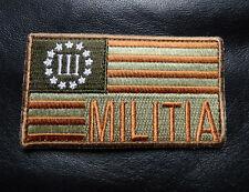 MILITIA THREE 3% PERCENTER USA FLAG HOMELAND 2RD MORALE MILITIA HOOK  PATCH
