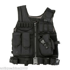 NEW Tactical Vest BLACK Large Military Special Forces Swat Police Hunting D4O5