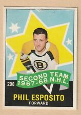 HOCKEY CARD NHL 1968-69 PHIL ESPOSITO 2ND TEAM BOSTON BRUINS #208 VERY NICE