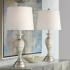 Arden Brushed Steel Twist Column Table Lamp 25 Inches Tall Set of 2 Empire Shade