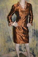 vtg 60s 70s COPPER spiro swirl LUCITE BUTTONS ruffle SUIT dress blazer S CUSTOM