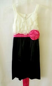 Bonnie Jean Special Occ Dress Slvless White Bodice Black Skirt Sz 8 or 10 #10981