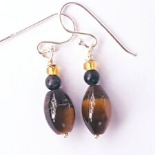 Tiger Eye Drop with Jasper Earrings 925 Sterling Silver Handcrafted