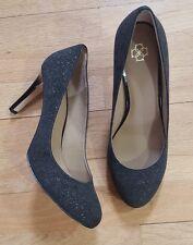 Ann Taylor Women's Gold Flecked Black Heels Size 8M Leather Upper
