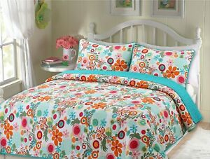 Floral Whimsy 100% Cotton Quilt Set, Bedspread, Coverlet