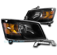 08-10 DODGE GRAND CARAVAN CRYSTAL STYLE BLACK HEADLIGHTS LAMPS W/BUMPER DRL LED