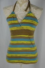 So Womens Small Blue Green Brown Striped NEW Halter Top Shirt