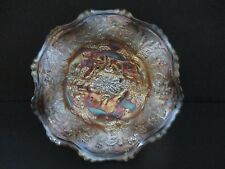 **SCARCE**FENTON PANTHER FOOTED SAUCE CARNIVAL GLASS BOWL **Pre-1940**