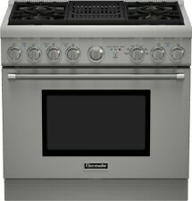 "Thermador Pro Harmony Prd364Nlhu 36"" Pro-Style Dual Fuel Range 4 Burners & Grill"