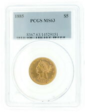 1885 US Mint $5 Dollar Liberty Head Gold Coin PCGS MS63