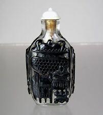 "19th C., Peking Glass Black Overlay Snuff Bottle , ""Nine Bronze Vessels"""