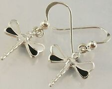 Sterling Silver 925 white Shell black Resin Dragonfly Hook Earrings 14mm x 16mm