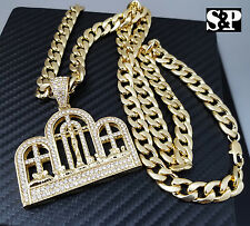 """Gold PT CZ Big Last Supper Pendant & 10mm 30"""" Cuban Heavy Chain Hip Hop Necklace"""