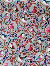 cotton jersey fabric stretch half metre 50cm pretty floral birds on grey pink