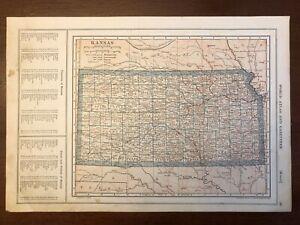 1917 Kansas Map, Encyclopedic Atlas and Gazetteer