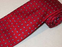 Brooks Brothers Tie Red Blue Rectangle Woven Jacquard Designer Mens Necktie Silk