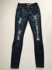 Judy Blue Embellished Destroyed Ripped Skinny Jeans Stretch Denim Women's Size 1