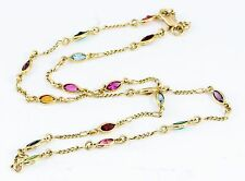 14k Yellow Gold Marquise Multi-Color Simulated Gemstone Necklace 16""