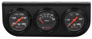 """Bosch 2"""" Mechanical Triple Gauge Kit Black / Black Bezel New FST8218 Warranty"""