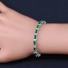 Green Emerald 925 Sterling Silver Bracelet White Topaz Link Chain 7 Inch