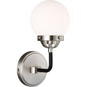 Sea Gull Lighting Cafe 1 LightSconce, 3.5W, Nickel/Etched/White - 4187901EN-962